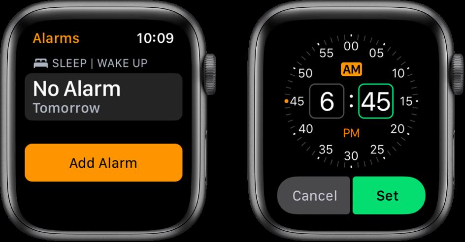"""Du laikrodžio ekranai, kuriuose rodomas žadintuvo įtraukimo procesas: palieskite """"Add Alarm"""", palieskite AM arba PM, pasukite """"DigitalCrown"""", kad koreguokite laiką, tada palieskite """"Set""""."""