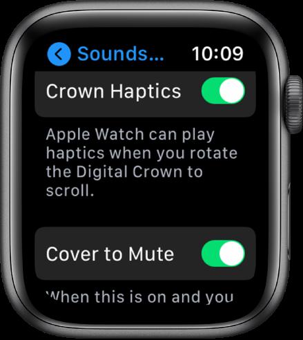 """Ekranas """"Crown Haptics"""", kuriame rodomas įjungtas """"Crown Haptics"""" jungiklis. Žemiau– mygtukas """"Cover to Mute""""."""