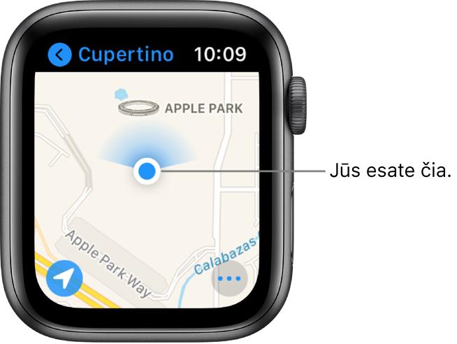 """Programa """"Maps"""", kurioje rodomas žemėlapis. Jūsų vieta žemėlapyje rodoma kaip mėlynas taškas. Virš vietos taško yra mėlyna vėduoklė, nurodanti, kad laikrodis nukreiptas į šiaurę."""