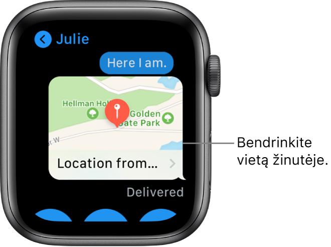 """Ekranas """"Messages"""", kuriame rodomas siuntėjo vietos žemėlapis."""