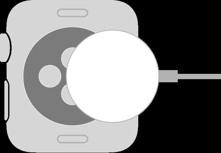 """Įdubęs """"AppleWatch"""" magnetinio įkrovimo kabelio galas veikiamas magnetinės jėgos prikimba prie """"AppleWatch"""" galinės pusės."""