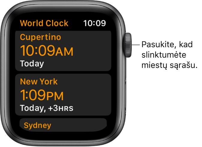 """Programa """"World Clock"""", kurioje pateikiami miestų sąrašas ir slinkimo juosta."""