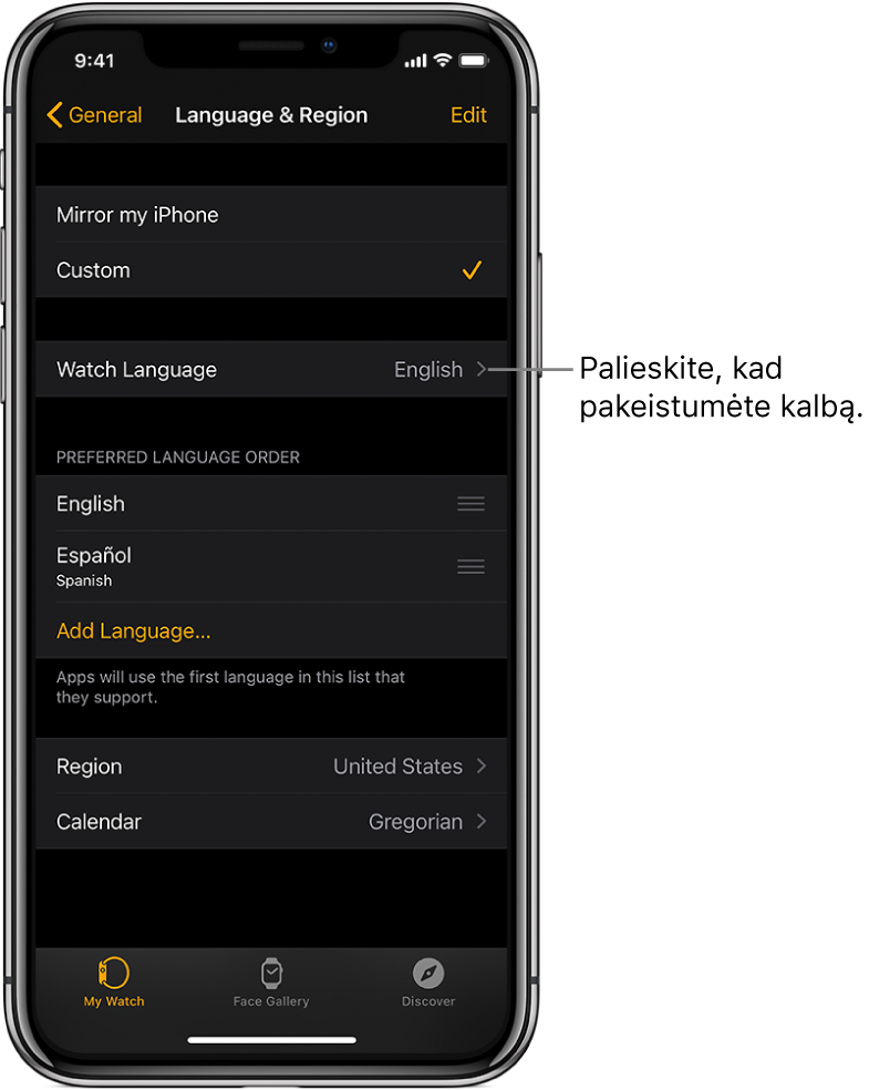 """Programos """"AppleWatch"""" ekranas """"Language & Region"""", kurio viršutinėje pusėje pateiktas parinkties """"Watch Language"""" nustatymas."""
