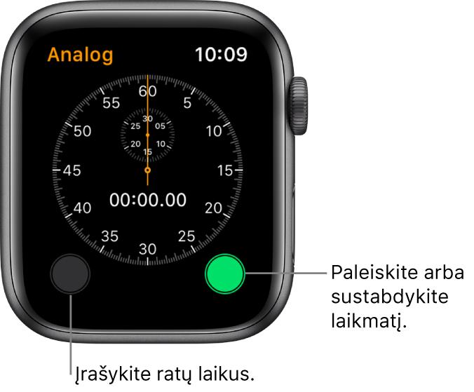 Analoginio laikrodžio ekranas. Palieskite dešinį mygtuką, kad paleistumėte ar sustabdytumėte, arba kairį mygtuką, kad įrašytumėte atkarpų laikus.