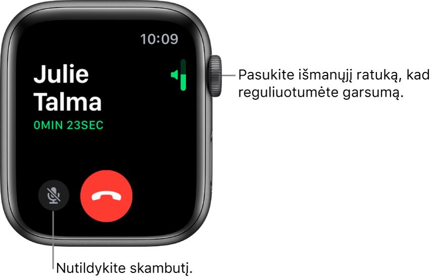 Gaunamojo telefono skambučio metu ekrano viršutiniame dešiniajame kampe rodomas horizontalus garsumo indikatorius, apatiniame kairiajame– nutildymo mygtukas ir raudonas atmetimo mygtukas. Skambučio trukmė rodoma žemiau skambintojo vardo.