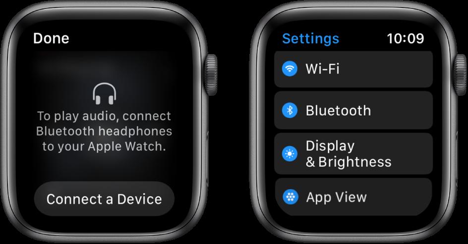 """Du ekranai šalia vienas kito. Kairysis ekranas ragina jus susieti """"Bluetooth"""" ausines su """"AppleWatch"""". Ekrano apačioje– mygtukas """"Connect a Device"""". Dešinysis """"Settings"""" ekranas, kuriame rodomas mygtukų """"Wi-Fi"""", """"Bluetooth"""", """"Brightness & Text Size"""" ir """"App View"""" sąrašas."""