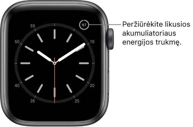 Laikrodžio ciferblatas, kurio viršutiniame dešiniajame kampe rodomas akumuliatoriaus įkrovimo lygio procento valdiklis.