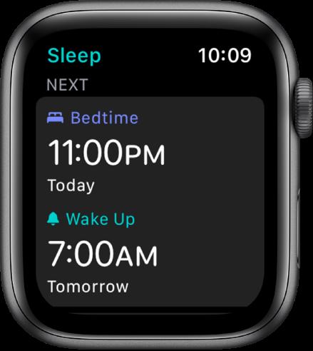 Lietotnes Sleep ekrāns, kurā redzams vakara miega grafiks. Bedtime, tuvāk augšpusei, ir 23:00. Zemāk ir mošanās laiks 07:00.