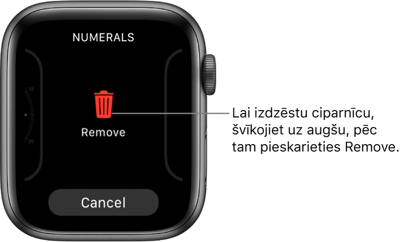 Apple Watch ekrāns, kurā ir redzamas pogas Remove un Cancel. Tās tiek rādītas, kad švīkojat līdz ciparnīcai un pēc tam švīkojat uz augšu, lai to izdzēstu.