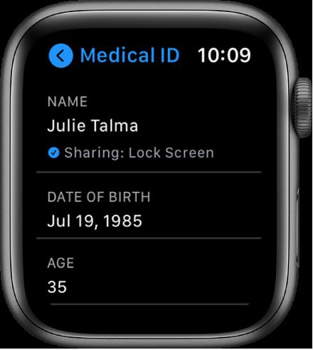 Ekrāns MedicalID, kurā redzams lietotāja vārds un vecums.
