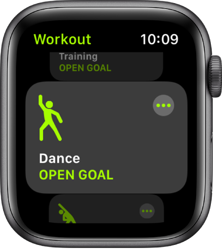 Lietotnes Workout ekrāns, kurā iezīmēta treniņa opcija Dance.