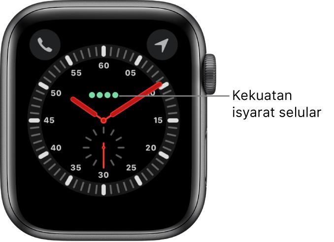 Muka jam Pengembara ialah jam analog. Di atas pusat muka jam ialah empat titik hijau yang menandakan kekuatan isyarat selular.