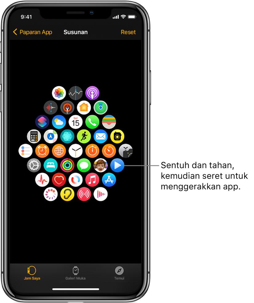 Skrin Susunan dalam app Apple Watch menunjukkan grid ikon.