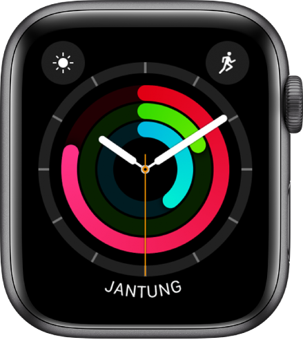 Muka jam Analog Aktiviti menunjukkan masa dan juga kemajuan gol Bergerak, Bersenam dan Berdiri. Terdapat juga tiga komplikasi: Keadaan Cuaca di sebelah kiri atas, Latihan di kanan atas dan Kadar Jantung di bahagian bawah.