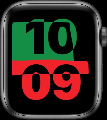 Muka jam Perpaduan menunjukkan waktu semasa di bahagian tengah skrin.