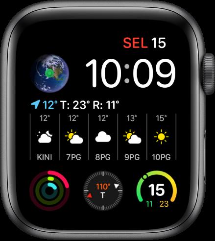 Muka jam Grafik Info Modular menunjukkan berbilang komplikasi dengan komplikasi Bumi di bahagian kiri atas, komplikasi Cuaca merentang di bahagian tengah muka jam dan tiga komplikasi subdail di sepanjang bahagian bawah: Aktiviti, Kompas dan Suhu Cuaca.