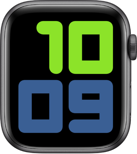 Muka jam Angka Duo menunjukkan 10:09 dalam nombor yang amat besar.