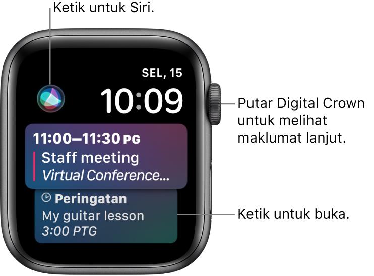 Muka jam Siri menunjukkan peringatan dan peristiwa kalendar. Butang Siri berada di bahagian kiri atas skrin. Tarikh dan masa berada di bahagian kanan atas.