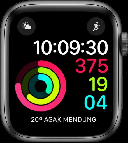 Muka jam Digital Aktiviti menunjukkan masa begitu juga kemajuan gol Bergerak, Bersenam dan Berdiri. Terdapat juga tiga komplikasi: Keadaan Cuaca di sebelah kiri atas, Latihan di kanan atas dan Cuaca di bahagian bawah.