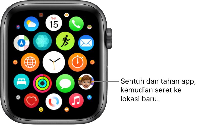 Skrin Utama Apple Watch dalam paparan grid.