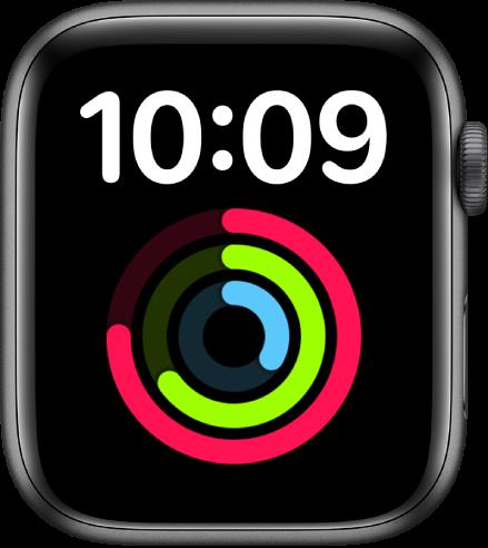Muka jam Lebih Besar memaparkan masa dalam format digital di bahagian atas. Komplikasi Aktiviti yang besar berada di bawah.