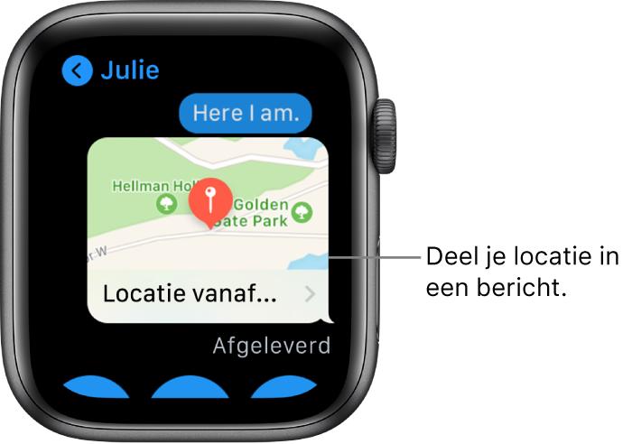 Berichten-scherm met een kaart waarop te zien is waar de afzender zich bevindt.