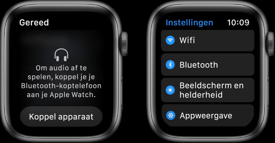 Twee schermen naast elkaar. Links zie je een scherm waarin je wordt gevraagd een Bluetooth-headset op je AppleWatch aan te sluiten. Onderaan bevindt zich de knop 'Koppel apparaat'. Rechts zie je het Instellingen-scherm met een lijst met de knoppen 'Wifi', 'Bluetooth', 'Beeldscherm en helderheid' en 'Appweergave'.