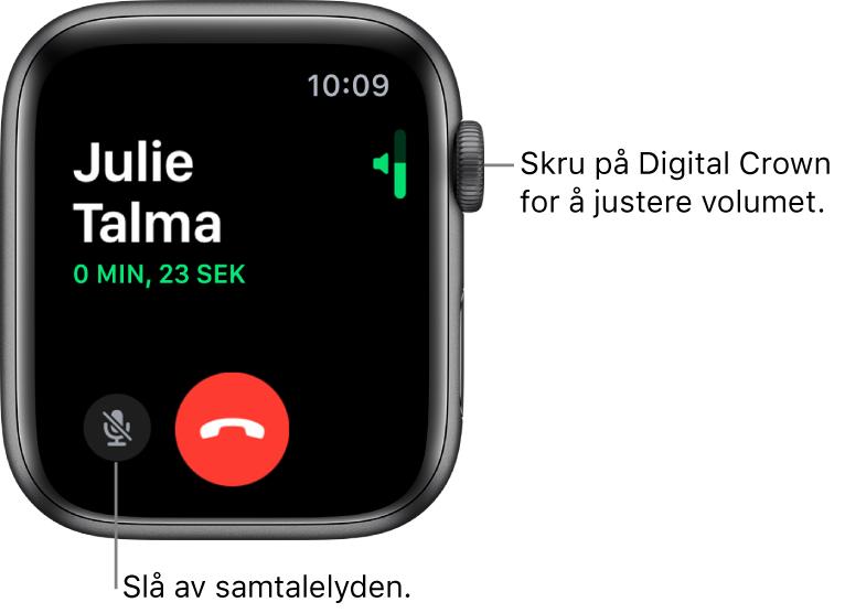 Under et innkommende telefonanrop viser skjermen den horisontale volumindikatoren øverst til høyre, Lyd av-knappen nederst til venstre og den røde Avvis-knappen. Samtalens varighet vises under navnet til den som ringer.