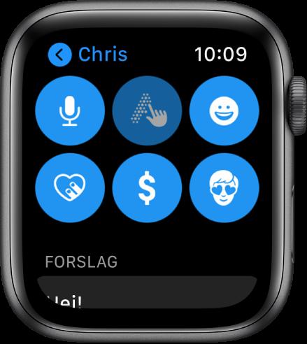 En Meldinger-skjerm som viser Apple Pay-knappen sammen med knappene Dikter, Skrible, Emoji, Digital Touch og Memoji.