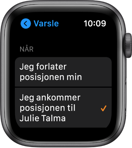 Varsle-skjermen i Finn personer-appen. «Når jeg ankommer Julie Tysnes» er markert.