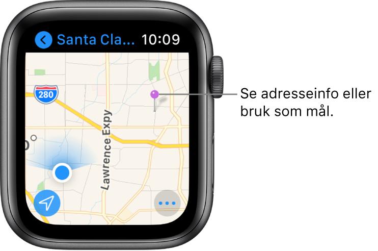 Kart-appen som viser et kart med en lilla nål, som kan brukes for å få en omtrentlig adresse for et punkt på kartet, eller som en destinasjon for veibeskrivelser.