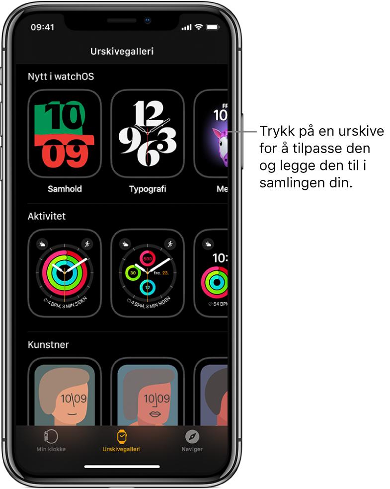 AppleWatch-appen på Urskivegalleri-siden. Den øverste raden viser nye urskiver, og den neste viser urskiver gruppert etter type – for eksempel Aktivitet og Artist. Du kan rulle for å se flere urskiver gruppert etter type.
