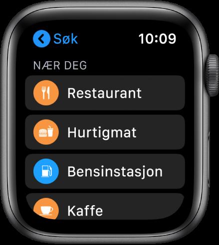 Kart-appen viser en liste over kategorier: Restauranter, Hurtigmat, Bensinstasjoner, Kaffe og annet.