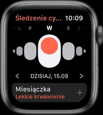 Ekran śledzenia cyklu zawierający dni tygodnia (na górze), bieżącą datę (poniżej) iprzycisk Miesiączka (na dole).
