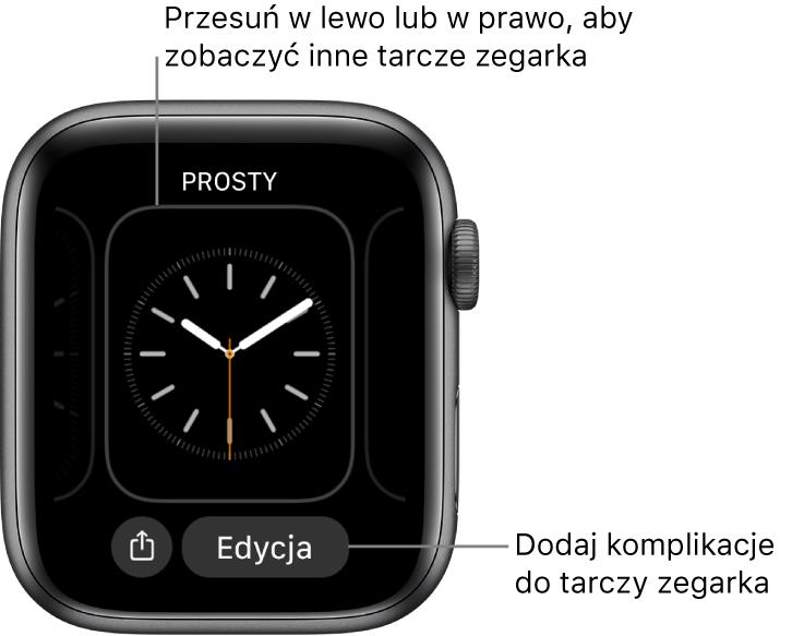 Gdy dotkniesz iprzytrzymasz tarczę zegarka, wyświetlona zostanie bieżąca tarcza ze znajdującymi się poniżej przyciskami Udostępnij oraz Edycja. Aby przeglądać dostępne tarcze, przesuwaj palcem wlewo lub wprawo. Stuknij wkomplikację, aby dodać żądane funkcje.