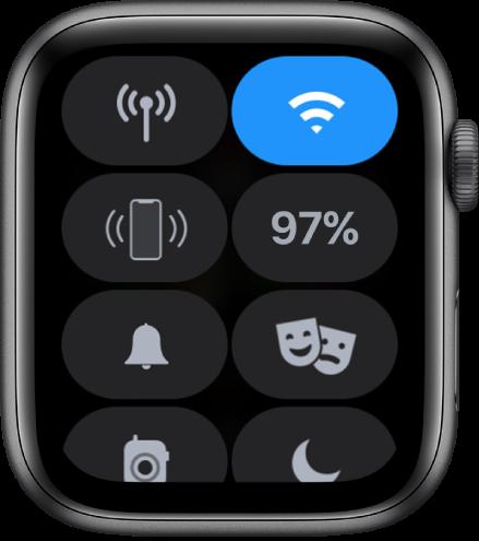 Centrum sterowania zawierające osiem przycisków: Sieć komórkowa, Wi‑Fi, Pinguj iPhone'a, Bateria, Tryb cichy, Tryb Widownia, Walkie‑Talkie oraz Nie przeszkadzać.