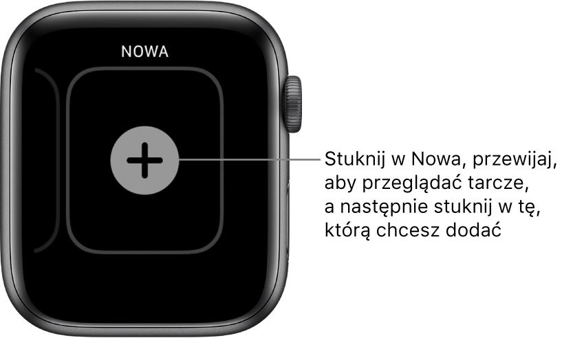 Ekran nowej tarczy zegarka zprzyciskiem plus na środku. Stuknij, aby dodać nową tarczę zegarka.