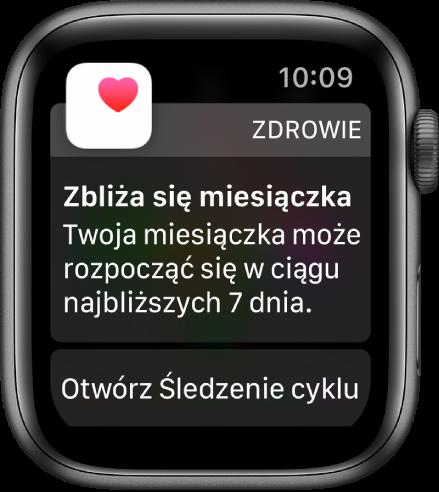 """AppleWatch wyświetlający ekran przewidywania cyklu zkomunikatem """"Zbliża się miesiączka. Twoja miesiączka prawdopodobnie rozpocznie się wciągu następnych 7dni."""". Na dole ekranu wyświetlany jest przycisk Zacznij śledzenie cyklu."""