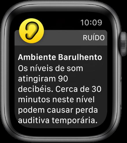 Uma notificação do app Ruído de cerca de 90 decibéis de nível de som. Um alerta sobre exposição a longo prazo a este nível de som aparece abaixo.