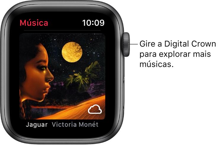 Tela mostrando um álbum e sua capa no app Música.