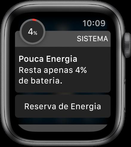 """O alerta de pouca energia inclui um botão que você pode tocar para entrar no modo """"Reserva de Energia""""."""