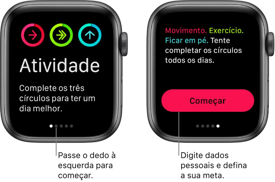 Duas telas: uma mostrando a tela de abertura do app Atividade e, a outra, mostrando o botão Começar.