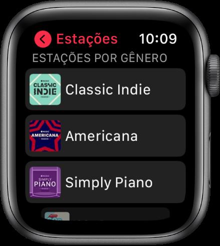 Tela Rádio mostrando três estações de um gênero na Rádio Apple Music.