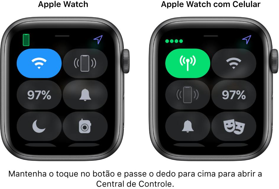 Duas imagens: o Apple Watch sem celular à esquerda, mostrando a Central de Controle. O botão Wi-Fi na parte superior esquerda, o botão Contatar o iPhone na parte superior direita, o botão Nível da Bateria na parte central esquerda, o botão Modo Silencioso na parte central direita, o botão Não Perturbe na parte inferior esquerda e o botão Walkie-Talkie na parte inferior direita. A imagem à direita mostra o Apple Watch com celular. Em sua Central de Controle encontra-se o botão Celular na parte superior esquerda, o botão Wi-Fi na parte superior direita, o botão Contatar o iPhone na parte central esquerda, o botão Nível da Bateria na parte central direita, o botão Modo Silencioso na parte inferior esquerda e o botão Não Perturbe na parte inferior direita.