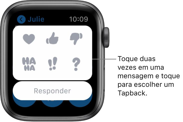 Uma conversa do Mensagens com opções de Tapback: coração, sinal de positivo, sinal de negativo, Ha Ha, !! e ?. O botão Responder encontra-se abaixo.