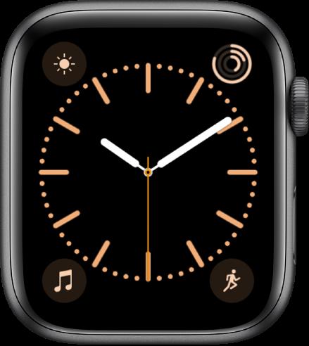 Mostrador Cor, no qual é possível ajustar a cor do mostrador. Ele mostra quatro complicações: Tempo na parte superior esquerda, Atividade na parte superior direita, Música na parte inferior esquerda e Exercício na parte inferior direita.
