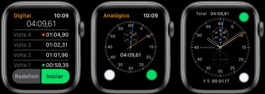 Três mostradores exibindo três tipos de cronômetro: um cronômetro digital no app Cronômetro, um cronômetro analógico no app e os controles do cronômetro disponíveis no mostrador Cronógrafo.