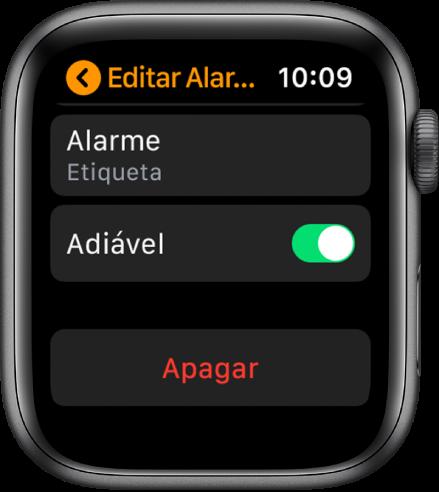 Tela Editar Alarme, com o botão Apagar na parte inferior.