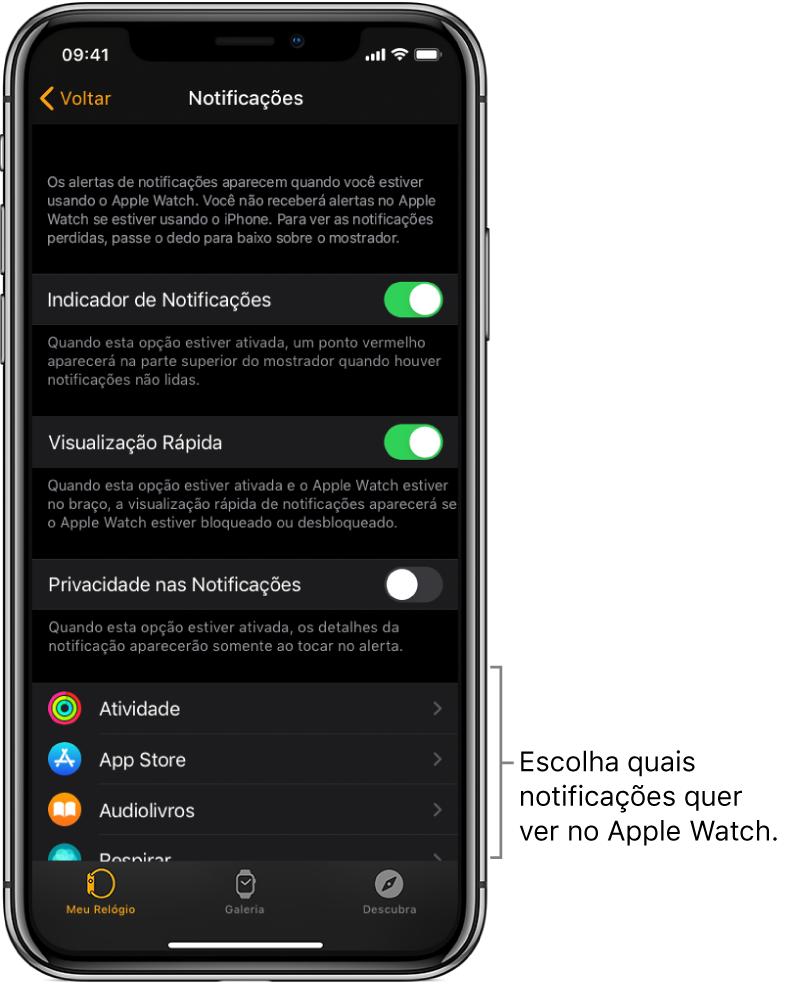 Tela de Notificações no app Apple Watch do iPhone, mostrando fontes de notificações.