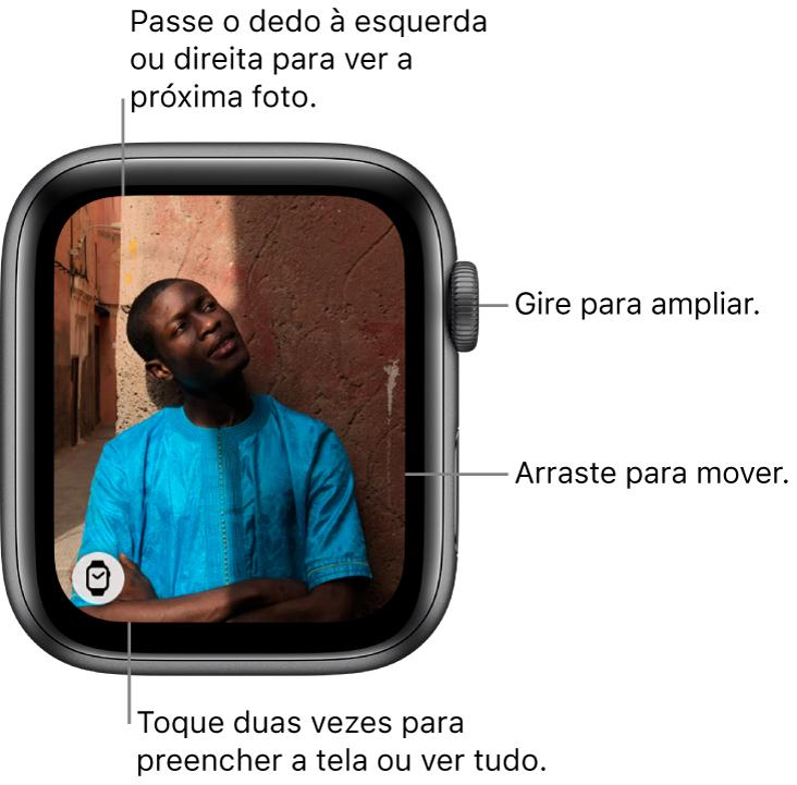 Ao visualizar uma foto, gire a DigitalCrown para ampliar, arraste para mover ou toque duas vezes para alternar entre visualizar a foto inteira e preencher a tela. Deslize para a direita ou para a esquerda para visualizar a foto seguinte. Toque no botão Mostrador na parte inferior esquerda para criar um mostrador a partir da foto.